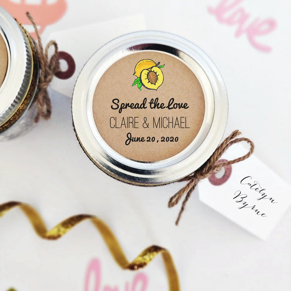 Personalized Peach Jam Canning Labels for Wedding Favors | Once Upon Supplies