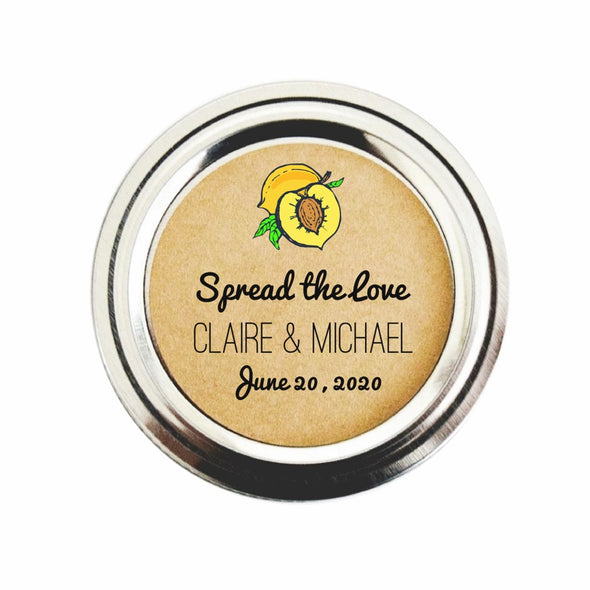 Peach Jam Wedding Favor Mason Jar Labels | Once Upon Supplies