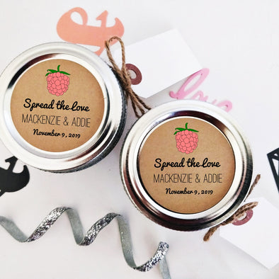 Raspberry Jam Canning Labels for Wedding Favors | Spread the Love Mason Jar Stickers