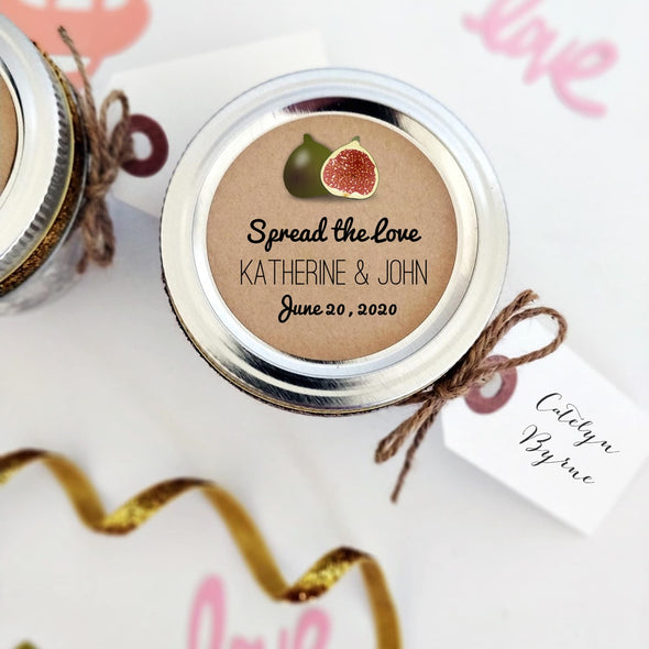 Fig Jam Canning Stickers for Wedding Favors, shown styled with tags and jute twine | Once Upon Supplies