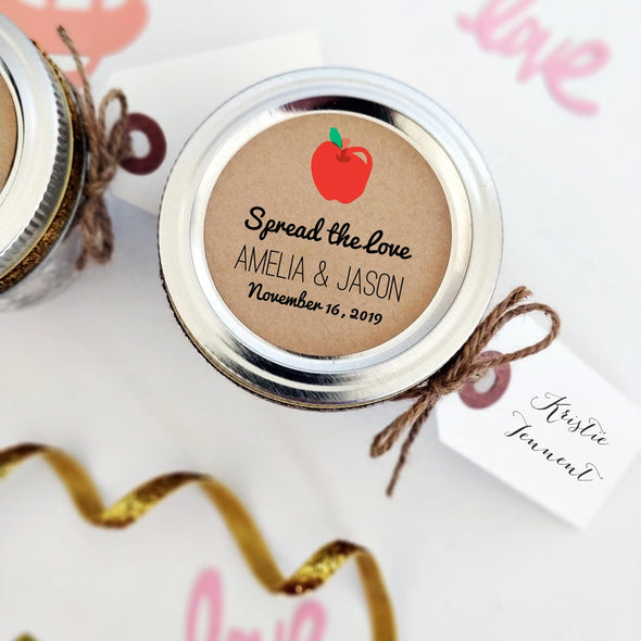 Apple Butter Spread the Love Stickers | Wedding Favor Labels | Once Upon Supplies