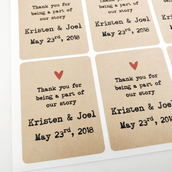 Custom Wedding Favor Labels Rectangular Shape Kraft Brown | Once Upon Supplies
