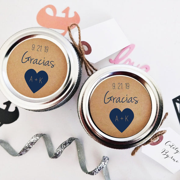 Gracias Wedding Favor Labels for Canning Jars, Favor Pouches or Gift Bags
