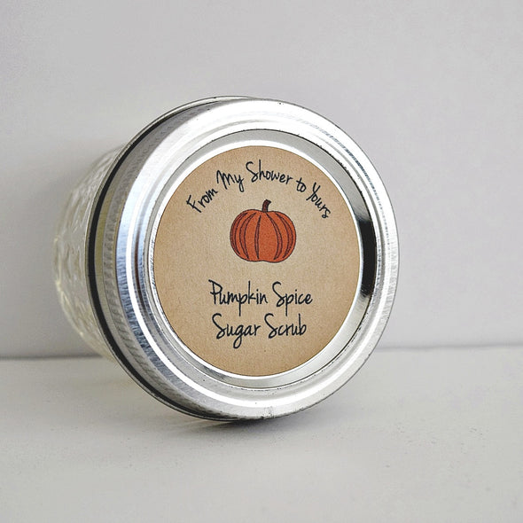 Pumpkin Sugar Scrub Labels - for Bridal Shower Baby Shower Favors