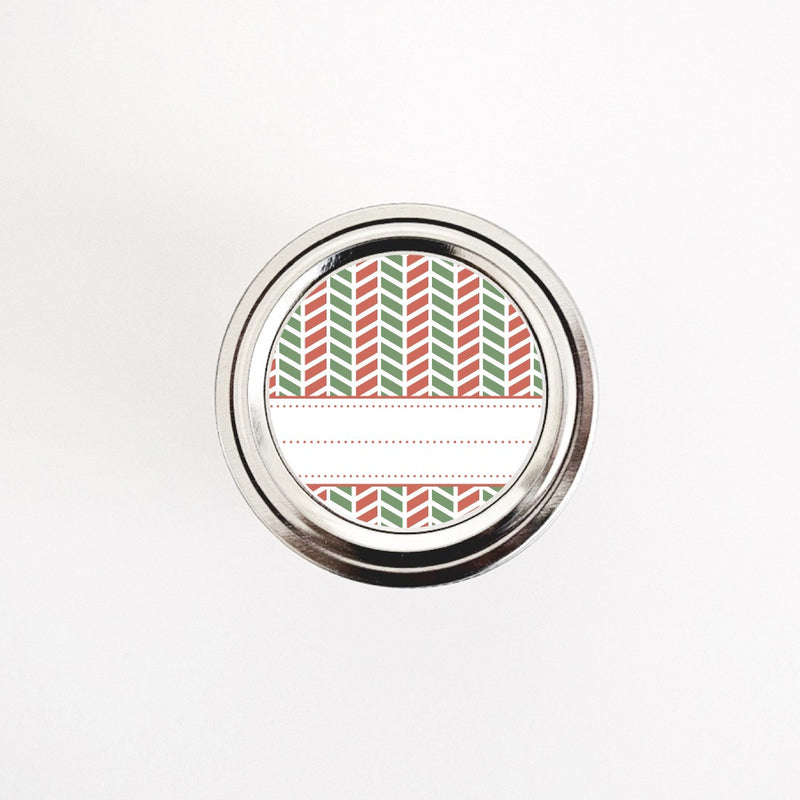 Christmas Labels with Red and Green Chevron Pattern