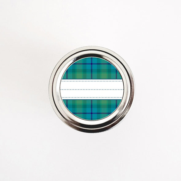 Blue and Green Tartan Pattern Labels for Kitchen & Home Organization