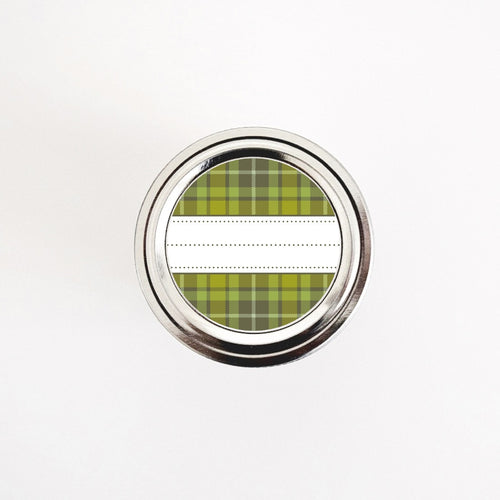 Green and Brown Plaid Pattern Round Labels for Pantry Organization