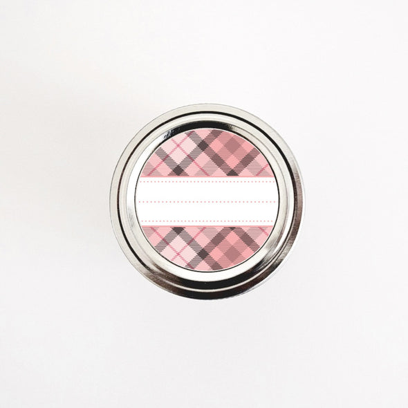 Pink Plaid Pattern Round Labels for Home & Kitchen Organization