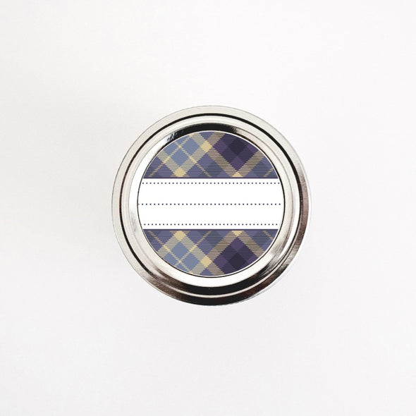 Purple and Brown Plaid Pattern Round Labels for Home & Kitchen Organization