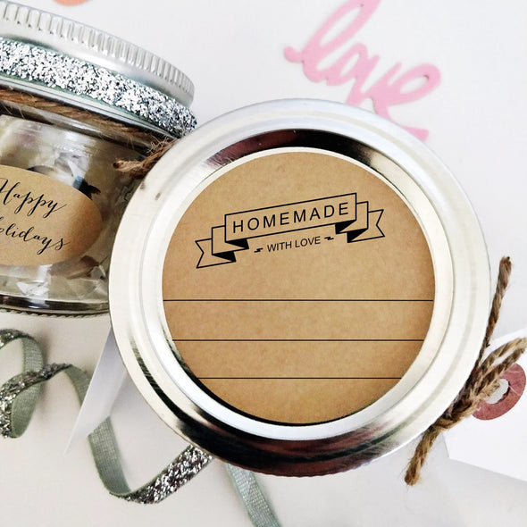 Homemade with Love Jar Lid Labels with Retro Ribbon Design | Once Upon Supplies