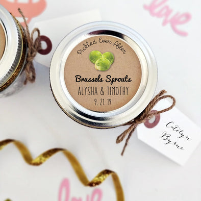 Wedding Labels for Pickled Brussels Sprouts | Wedding Favor Seals | Once Upon Supplies