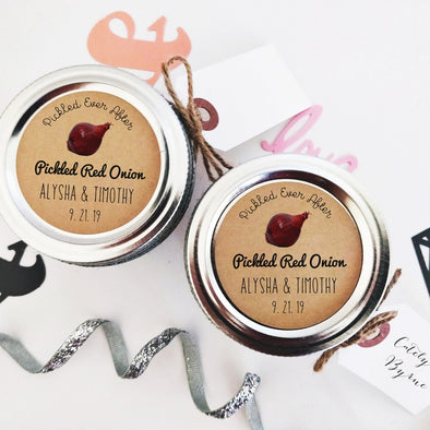 Pickled Red Onion Labels and Stickers for Wedding Favors | Once Upon Supplies