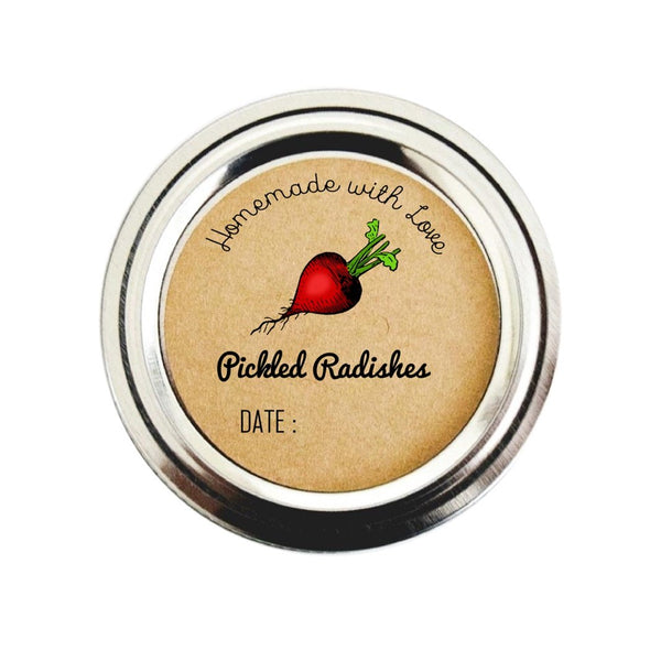 Pickled Radishes Canning Labels | Mason Jar Stickers | Once Upon Supplies