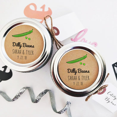 Custom Pickled Dilly Beans Labels and Stickers for Wedding Favors | Once Upon Supplies