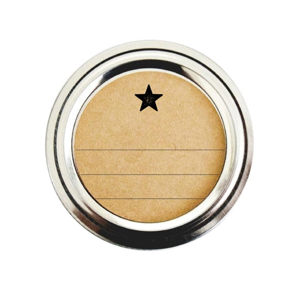 Round Canning Jar Labels with Simple Star Design and Blank Lines | Once Upon Supplies