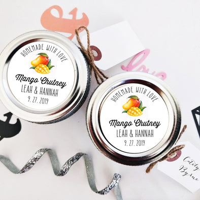 Custom Mango Chutney Canning Labels for Wedding Favors | Once Upon Supplies