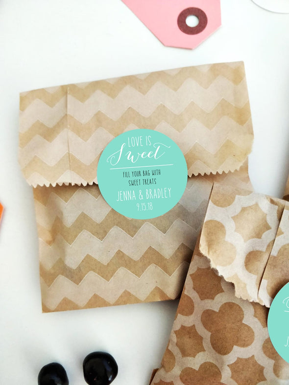 Love is Sweet Fill a Bag Candy Favor Labels for Wedding Favors in Turquoise | Once Upon Supplies