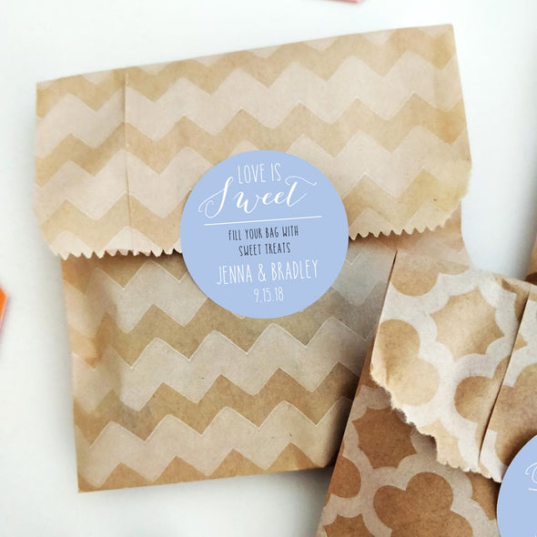 Fill a Bag Candy Favor Labels for Wedding Favors in Periwinkle | Once Upon Supplies