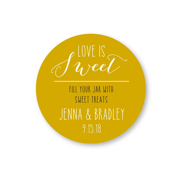 Love Is Sweet Fill a Jar Candy Buffet Labels for Wedding Favors | Once Upon Supplies