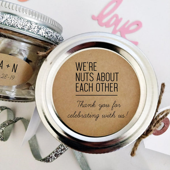 Custom Wedding Favor Labels for Mixed Nuts | We're Nuts About Each Other | Once Upon Supplies