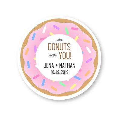 Donuts Wedding Favor Stickers, We Are Donuts Over You Labels | Once Upon Supplies