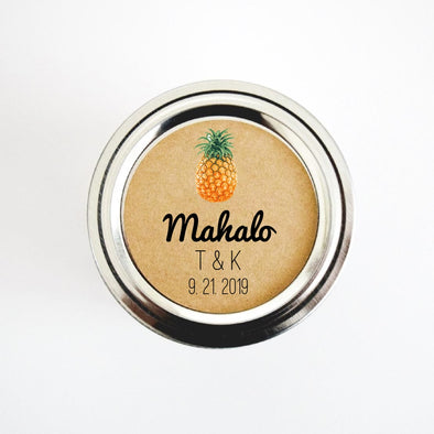 Tropical Pineapple Mahalo Wedding Favor Labels, Hawaiian Theme Wedding