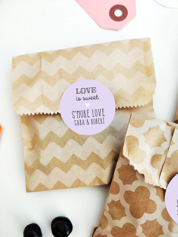 Custom Smores Favor Labels for Weddings, Showers and Parties | Once Upon Supplies