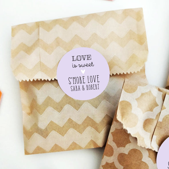 Personalized S'more Love Favor Stickers for Weddings | Smores Favor Labels | Once Upon Supplies