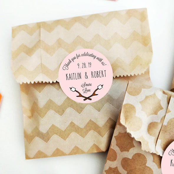 Custom S'mores Favor Labels, shown with pink background | Once Upon Supplies