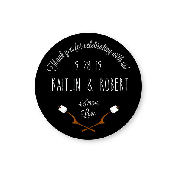 Round S'mores Labels for Wedding Favors, shown in Black | Once Upon Supplies