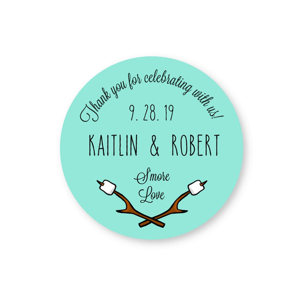 S'more Love Round Stickers Seals Labels for Wedding Favors in Turquoise | Once Upon Supplies