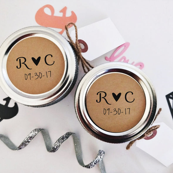 Custom Wedding Favor Labels with Minimalist Initials and Heart Design