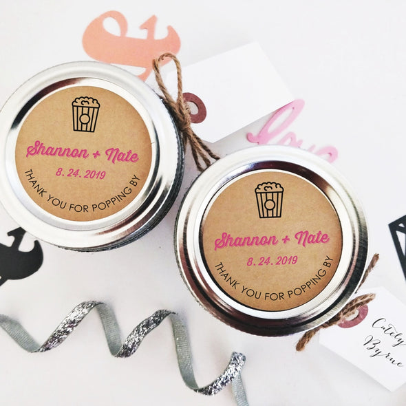 Popcorn Favor Stickers and Seals for Weddings, Showers and Parties | Once Upon Supplies