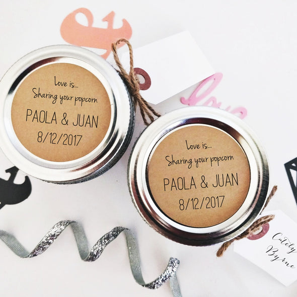 Love is Sharing Popcorn Stickers and Labels for Wedding Favors | Once Upon Supplies