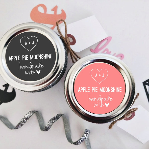 Custom Apple Pie Moonshine Wedding Favor Labels with Pink and Charcoal Background | Once Upon Supplies