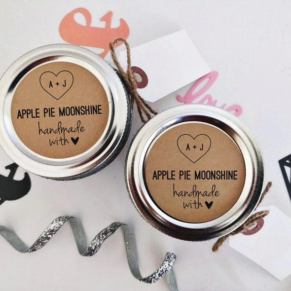 Custom Apple Pie Moonshine Wedding Favor Stickers with Kraft Brown Background | Once Upon Supplies
