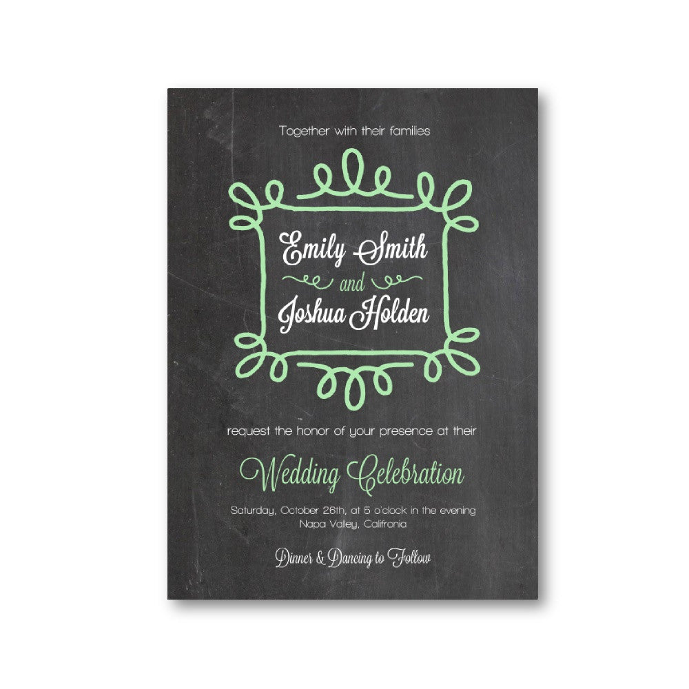 Ornate Frame Chalkboard Wedding Invitation