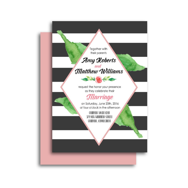 Botanical Wedding Invitation with Classic Stripes