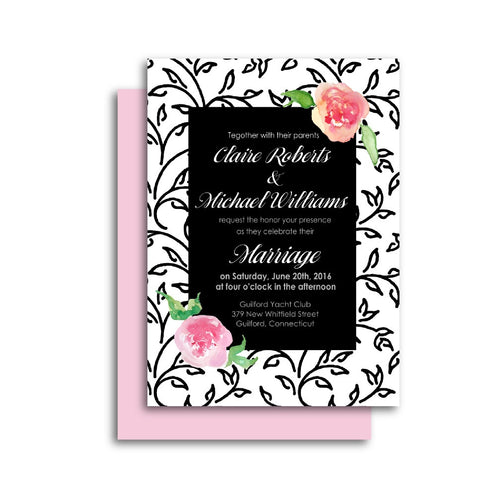 Modern Romantic Wedding Invitation with Black and White Floral Pattern and Pink Flowers