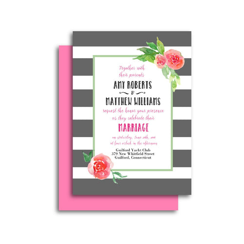 Pink and Gray Garden Wedding Invitation