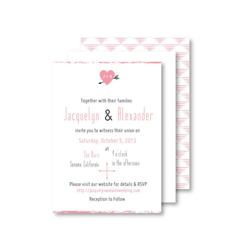 Heart and Arrow Southwestern Inspired Wedding Invitation