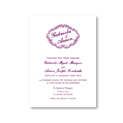 Lavender Antique Frame Wedding Invitation