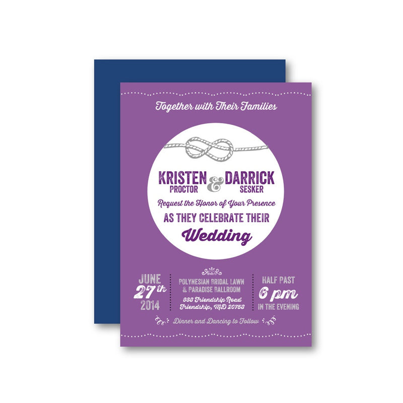 Purple Tie the Knot Wedding Invitation