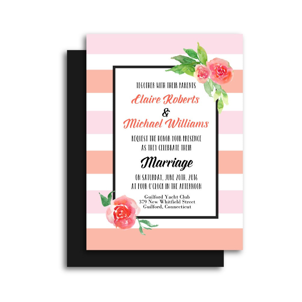 and Peach Floral Wedding Invitation