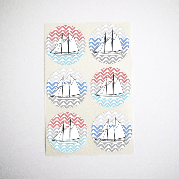 Sailboat Stickers with Chevron Stripes Background