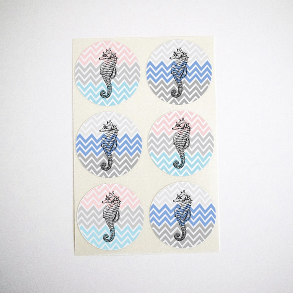 Seahorse Stickers with Chevron Stripes Pattern