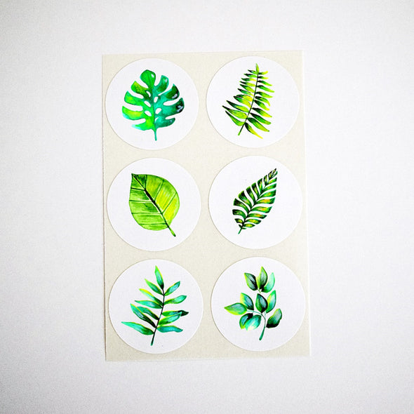 Tropical Green Leaves Collection Stickers