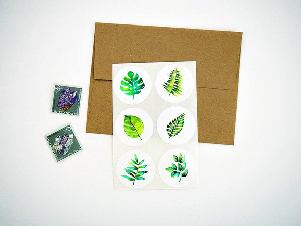Tropical Green Leaves Stickers / Seals / Labels