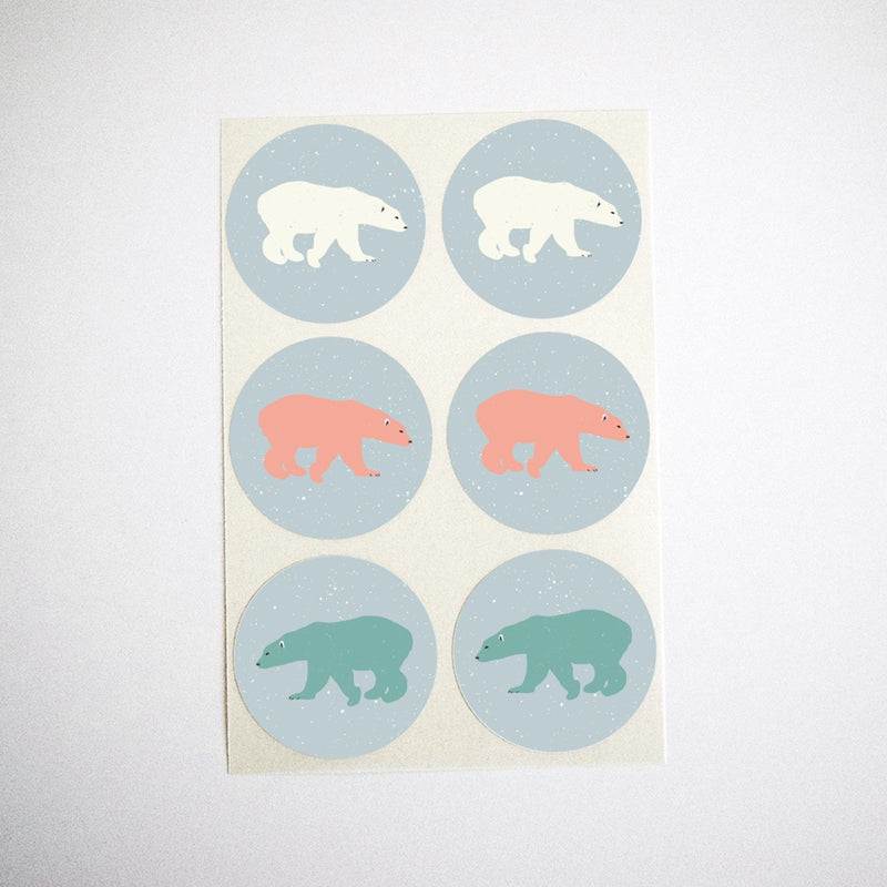 Colorful Polar Bears Stickers