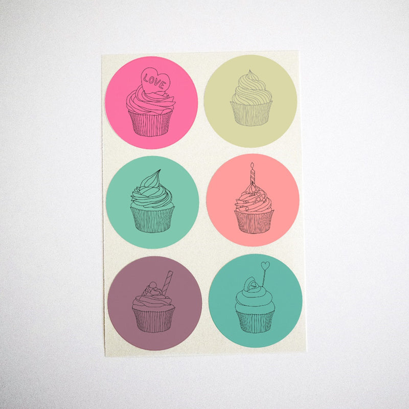 Colorful Cupcake Stickers